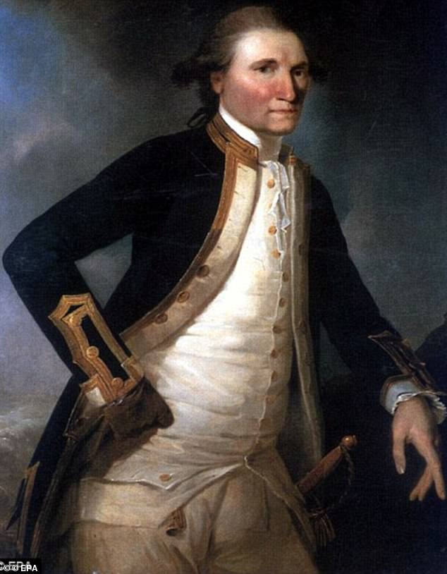 Captain James Cook (pictured) commanded the HMS Endeavour to Australia during his voyage of discovery in the late 1700s