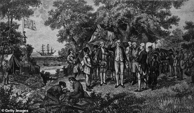 1770: English explorer Captain James Cook (1728 - 1779) proclaims New South Wales a British possession, shortly after his landing at Botany Bay. His ship, the Endeavour can be seen in the background