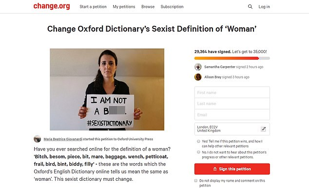 The reviewwas prompted by a 30,000-strong petition, led by PR consultant Maria Beatrice Giovanardi, which claimed that the dictionary was sexist