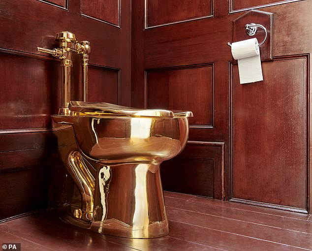 The 18-carat gold toilet was unveiled at Blenheim Palace, Oxfordshire, as part of an exhibition by Italian artist Maurizio Cattelan, before it was stolen on September 14