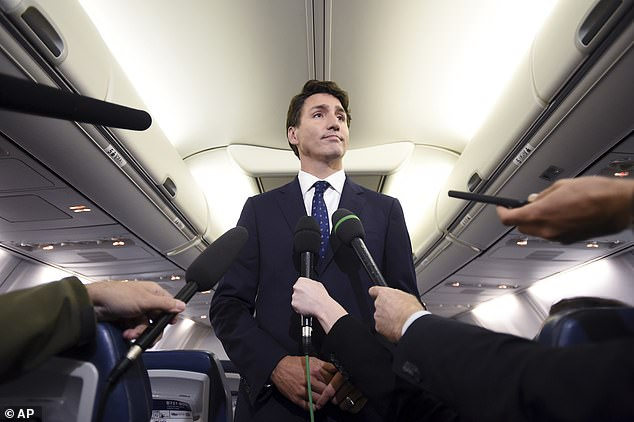 Trudeau said on his plane: 'I take responsibility for it. It was a dumb thing to do. I'm disappointed in myself. I'm p****d-off at myself for having done it. I wish I hadn't done it but I did and I apologize for it. I should have known better but I didn't'