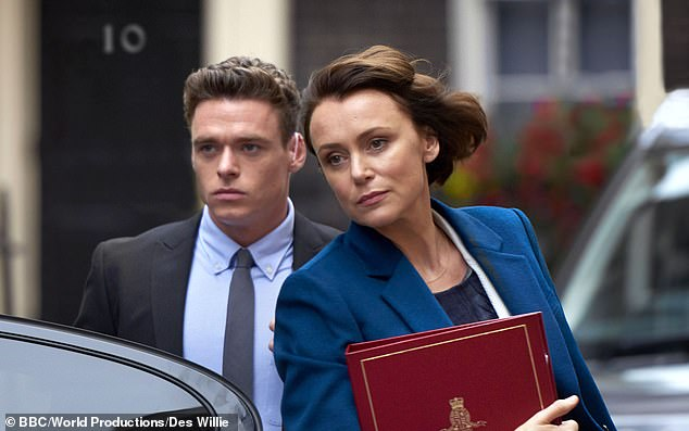 Unimpressed: She admitted that she was far more irritated by Bodyguard, which starred Richard Madden as an officer protecting the Home Secretary, played by Keeley Hawes, who are both pictured above