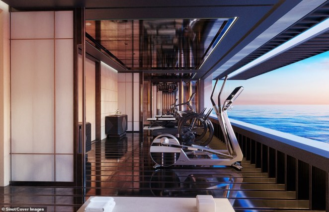 The gym features a range of workout machines, a full set of dumbbells and a yoga studio. A window stretching the entire width of the gym at sea-level gives the impression of working out on the water itself