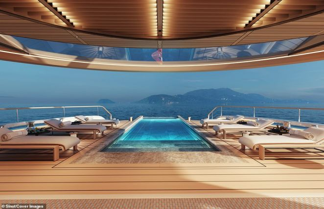The yacht's designers said they wanted it to combine 'ground-breaking technology with cutting-edge design' and provide a blueprint for future designs using eco-friendly fuel sources
