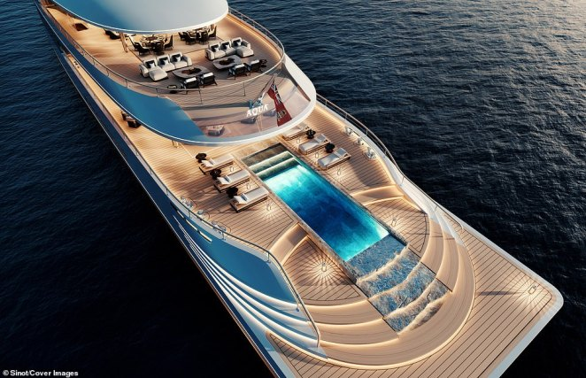 The rear of the vessel has two entertaining areas - one lower lounge area for sunbathing or swimming - and an upper entertaining space with room for outdoor dining. Gel-fuelled fire bowls allow guests to stay warm on colder evenings without having to burn wood or coals