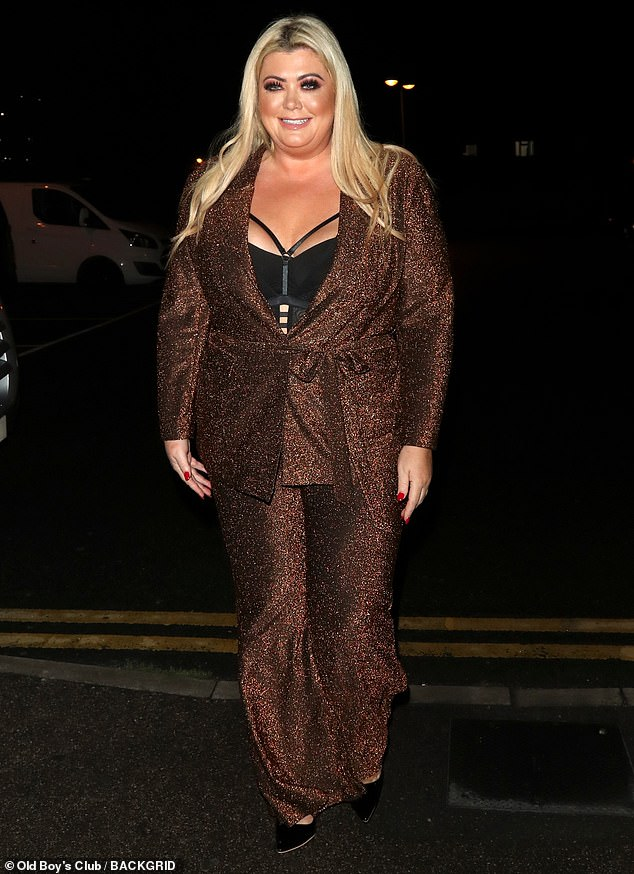Work it: Gemma Collins continued to display her slimmed-down frame as she attended the official launch for Skinny Jab in London on Wednesday