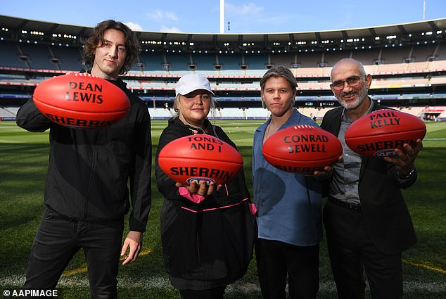 Performers: (L-R) Dean Lewis, Tones and I, Conrad Sewell and Paul Kelly pose for a photograph along the boundary line at the MCG - Pictured on Thursday, September 26, 2019