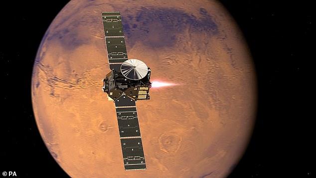 Le lanceur européen ExoMars, baptisé Rosalind à la mémoire du chimiste britannique Rosalind Franklin, sera lancé en mars avec le rover Mars 2020 de la NASA. Sur la photo, une vue d'artiste de l'orbiteur de gaz traceur ExoMars et de son module d'entrée, d'atterrissage et de descente