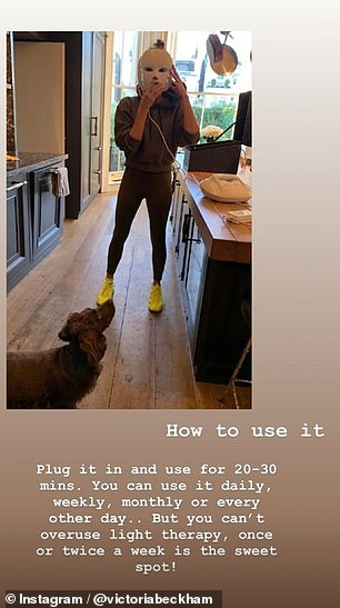 Advice: The former spice girl turned fashion designer explained how to use the mask to her followers