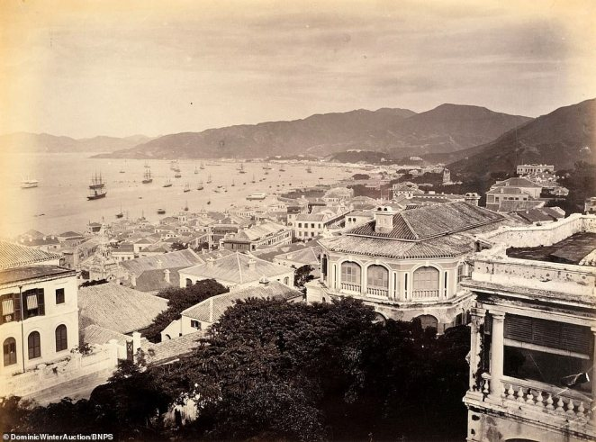 The view from central Hong Kong Island.John Thomson was one of the first British photographers to venture to the Far East between the years 1868 to 1870