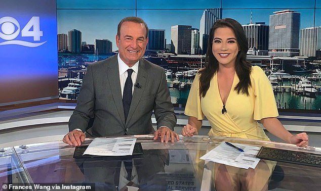 After she moved from California to Florida in December 2018, her condition seemed to worsen so she was prescribed a topical steroid cream. Pictured: Wand, right, anchoring a newscast