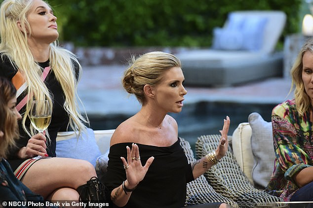 It was during her time on the Real Housewives of Beverly Hills in 2016 (pictured) that Eden realized her breasts might be the thing making her feel like she wasn't herself - and in pain