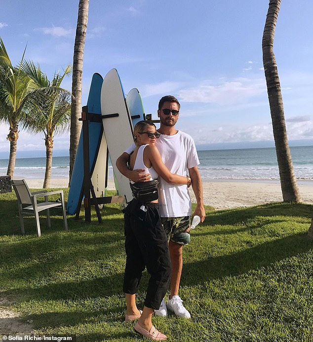 In love:Sofia shared their first official Instagram post on October 2, 2017 while posing with him at the beach with her arms wrapped around his waist