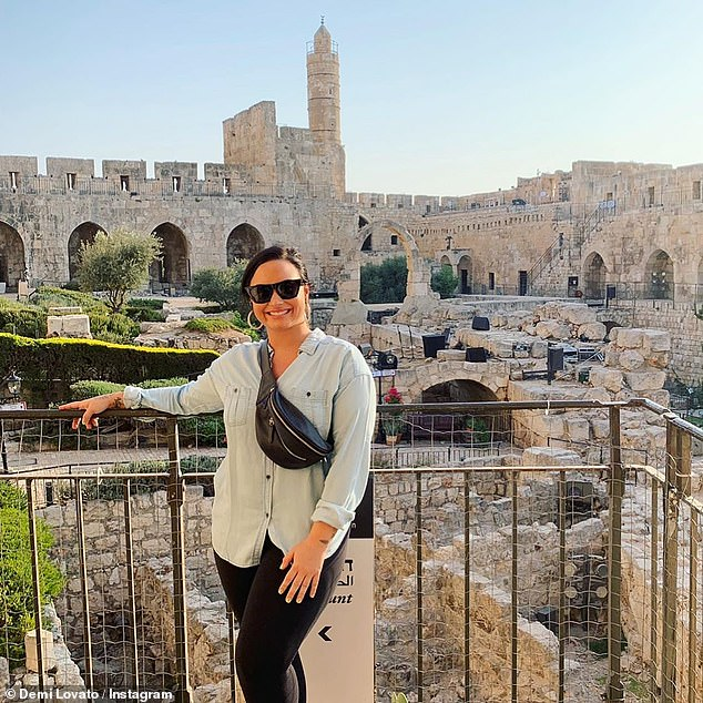 Peace of mind: 'I'm grateful for the memories made and the opportunity to be able to fill the God-sized hole in my heart,' Lovato said of her trip to Israel