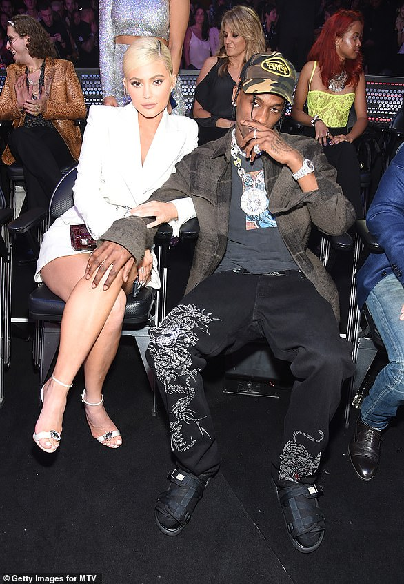Proud parents: Kylie the gave birth to daughter Stormi on February 1, 2018, and confirmed the baby would taking Travis' name, Webster (pictured at the VMAs August 2018)