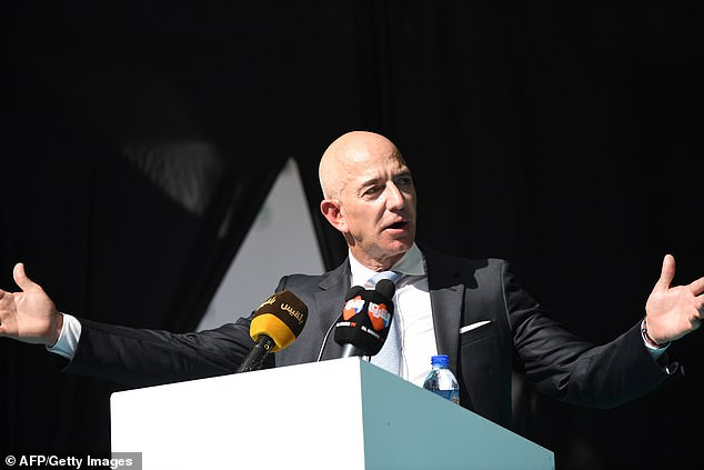 Bezos speaks during the event today, paying tribute to Cengiz and saying: 'No one should ever have to endure what you did'