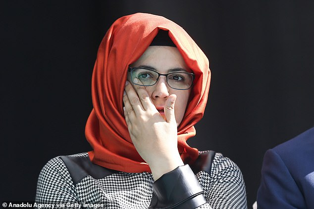 Hatice Cengiz, pictured, returned to the place where she waited anxiously for Khashoggi to emerge from the Saudi consulate last year where he was collecting paperwork