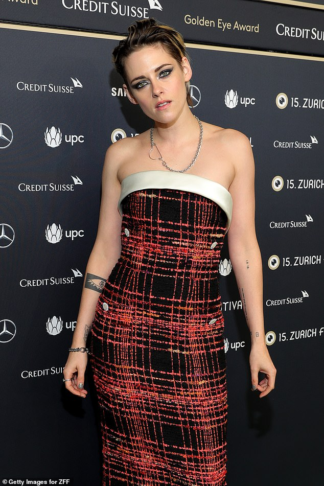 Stunning: Kristen Stewart showed off her sartorial prowess in a red-and-black gown as she arrived in style at the premiere for Seberg during the Zurich Film Festival on Wednesday