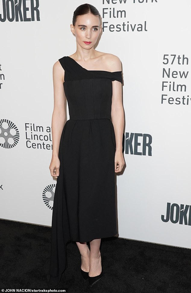 Pure elegance:Close at hand was his fiancee, actress Rooney Mara, who like Joaquin cut a stylish figure in black for the festival appearance
