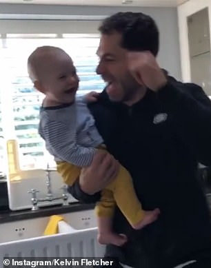 Chirpy: The former Emmerdale actor, 35, doted on his adorable child as he enthused he's 'absolutely loving' his dance stint