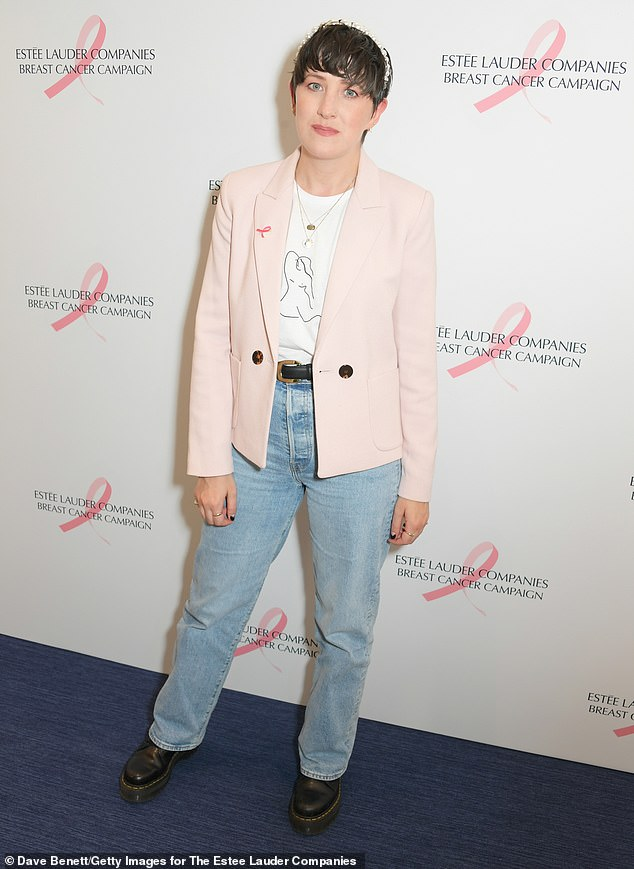 Casual:Lauren Mahon - who presented The Big C podcast and survived breast cancer - opted for boyfriend jeans and a pale pink blazer