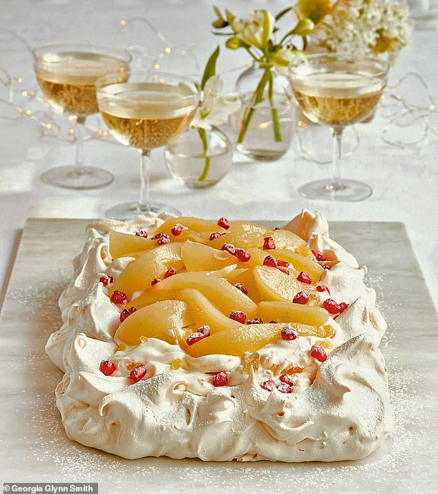This pear & ginger pavlova is the ultimate dessert for impressing dinner guests