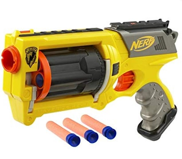 Police say she pistol-whipped her spouse of 12 years using a pair of Nerf guns (stock photo)
