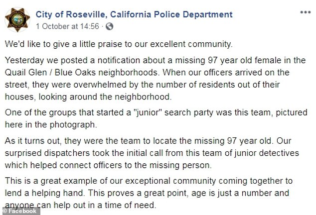 Cops in Roseville thanked local residents, including a 'junior' search party in a Facebook post for helping find Belford