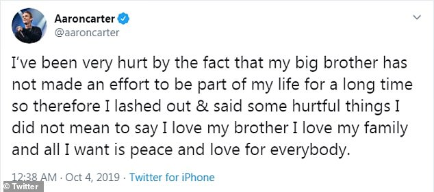 Grovelling:Taking to Twitter the child star, 31, admitted he said some 'hurtful things' to his sibling and asked for 'peace and love'