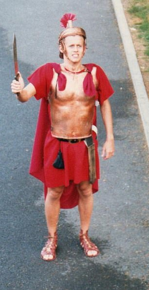 Another photo of Bushell shows him in 1988 when he was paid £5 a night to play a Roman centurion for the tourist board in Winchester
