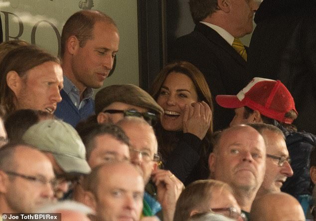 Prince William and Kate have been spotted celebrating wildly alongside their children George and Charlotte while watching Aston Villa hammer Norwich in the Premier League
