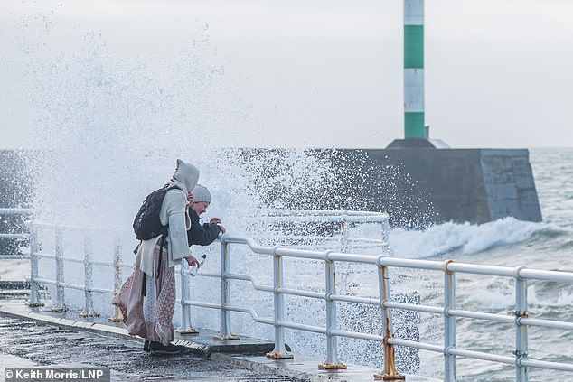 Mr Morris braved the wet weather to take this shot of a blustery day in Aberystwyth
