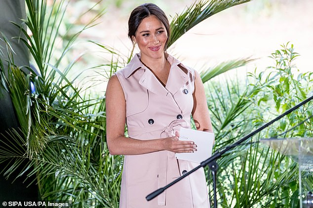 Meghan Markle's (pictured in South Africa on October 2) father, who lives in Rosarito, Mexico, said he was 'devastated' when the existence of the letter was made public