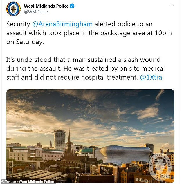 West Midlands Police said they were alerted to an assault in the backstage area at around 10pm by the venue's security