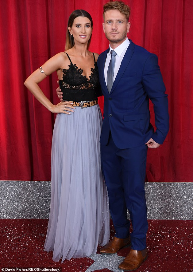 Romance:The soap couple have been together since 2007 and tied the knot in a surprise wedding in February 2018, after being engaged for nine years (pictured June 2017)