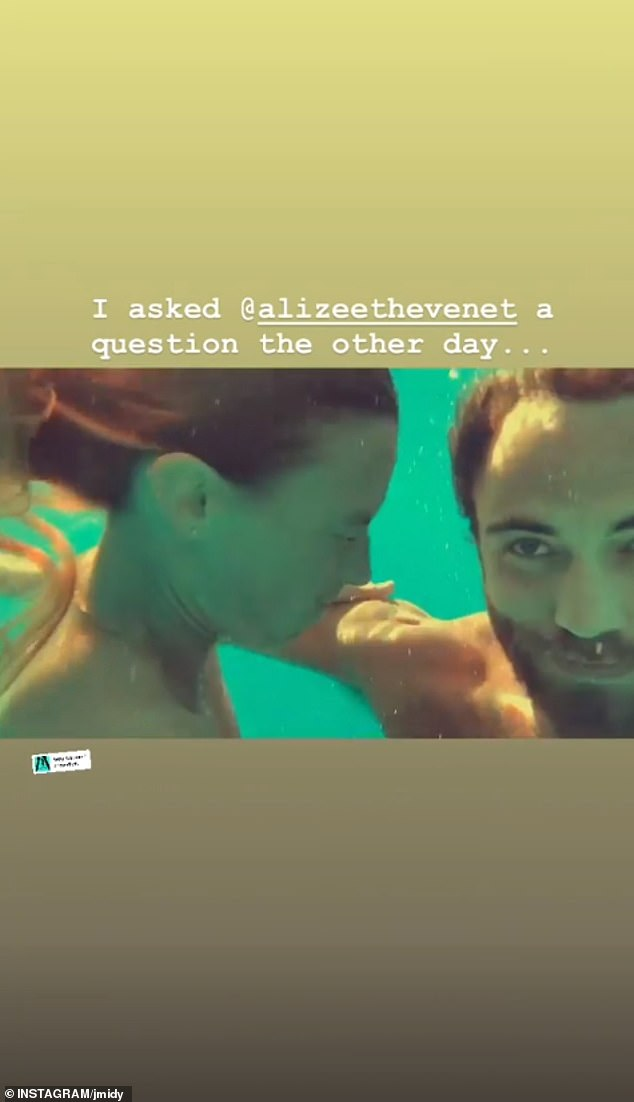 James shared a short video of he and Alizee taking a dip in the sea, alongside the words 'I asked @Alizeethevenet a question the other day