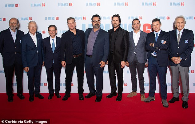 Real stars: Several winners of the real 24 Hours of Le Mans attended the premiere. Pictured left to right are Henri Pescarolo (33 participation at the race, Gerard Larrousse (8 times winner), Pierre Fillon, actor Matt Damon, director James Mangold, actor Christian Bale, Benoit Treluyer, Tom Kristensen (9 times winners of the race) and Dereck Bell (5 times winner at Le Mans)