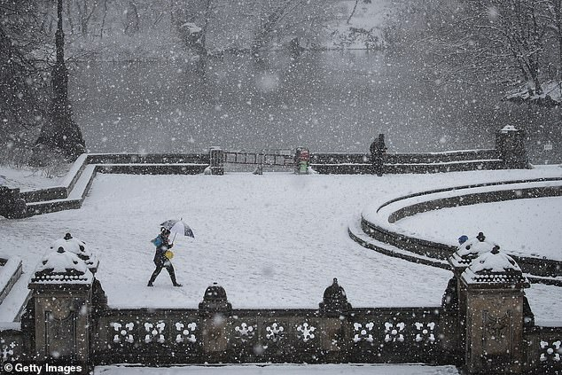 A few cold spells in the Northeast are expected throughout the fall, then chilling temperatures in December, and major snow beginning in 2020, reports AccuWeather. New York (pictured above during a 2018 storm) could get above-average snowfall