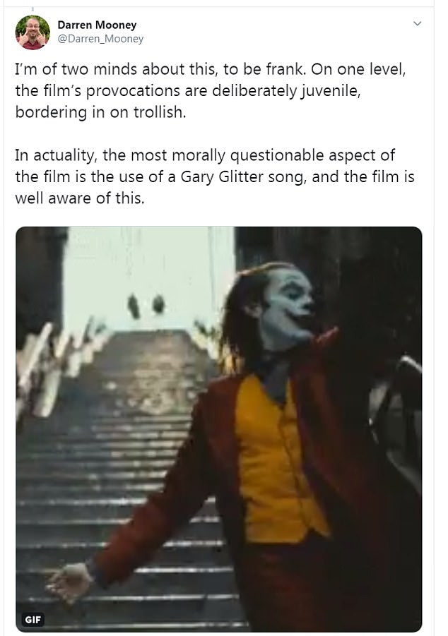 Darren Mooney said the most questionable part of the film was the use of a Gary Glitter song
