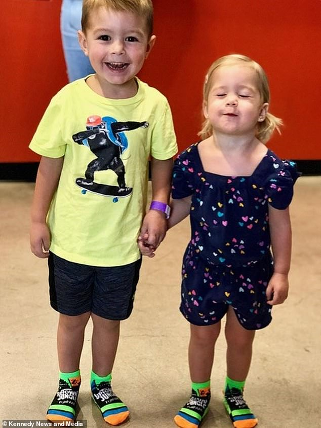 As Jen rushed around to the Naylor household to calm the nervous Breana, she decided to 'embrace' the shocking cut her three-year-old neighbor had done and make a 'cute shape' for Kimber. Pictured: The siblings together