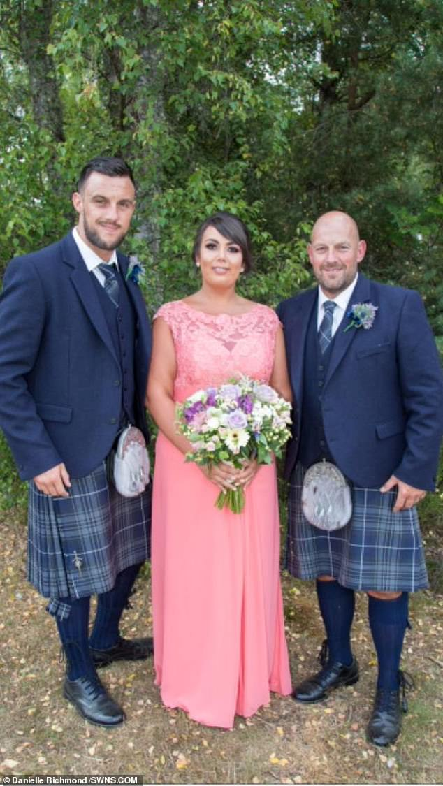 Danielle Richmond, 27, from Moray, was motivated to lose weight after being asked to be a bridesmaid for her father's wedding (pictured, with her brother Darell and father Gordon)