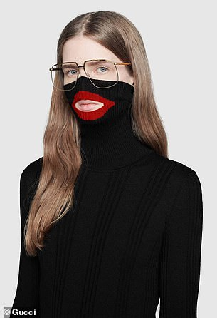 The piece, a black balaclava knit top from the Fall Winter 2018 season, soldf for $890 and features a cut-out at the mouth that is outlined in red