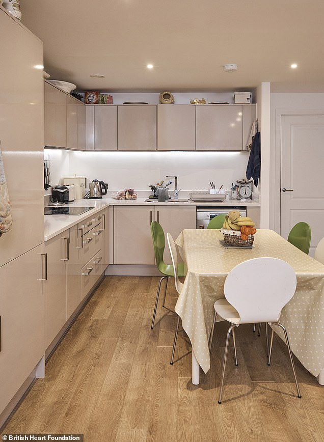 In the kitchen, they switched out old chairs and hid away gadgets thanks to new storage. Pictured before