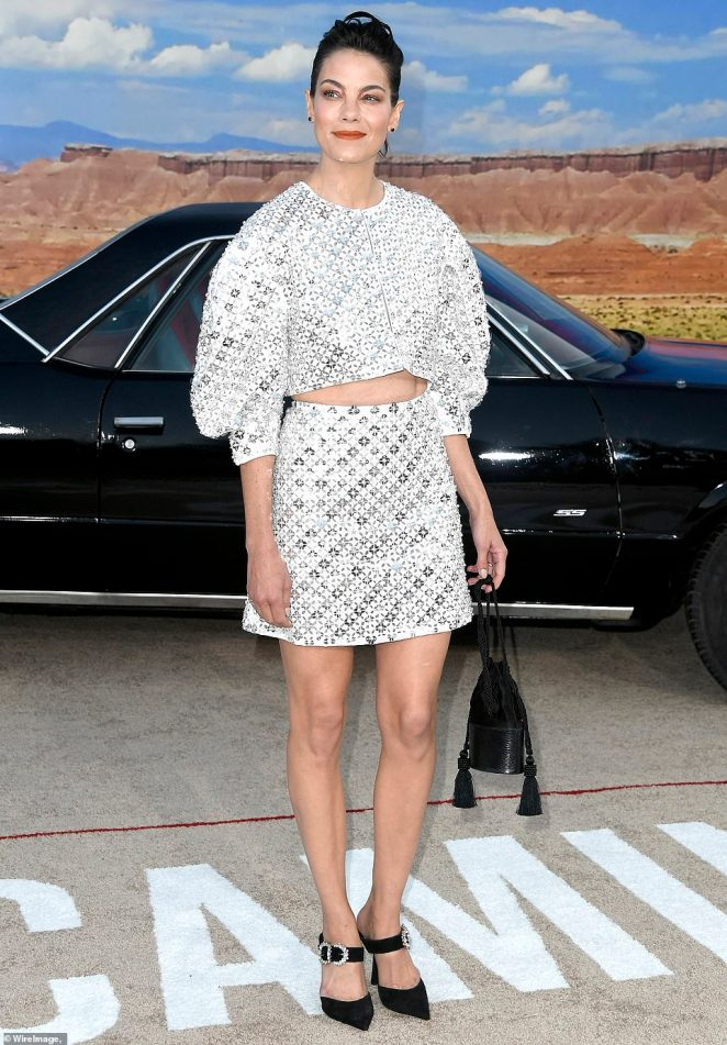 Skirt set: Michelle Monaghan dazzled in a white skirt set, adorned with sparkling silver sequins in a geometric design