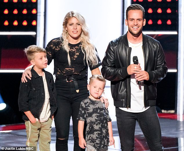 Family man: The Texas singer performed Post Malone and Swae Lee's Sunflower and got everyone but Blake to turn as the judges asked him to bring his two boys onstage