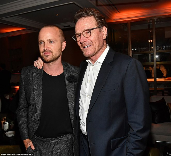 Celebration: Cranston and Paul got caught up at the post-screening party