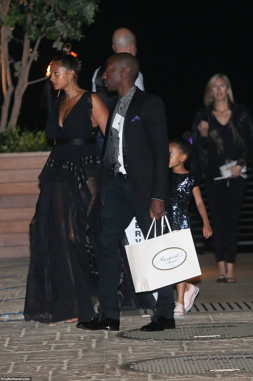 Simon's Britain's Got Talent co-star Alesha Dixon, who is currently filming the new series of America's Got Talent with Simon in LA, was among the starry guest list, arriving with her husband Azuka Ononye and their oldest daughter Azura