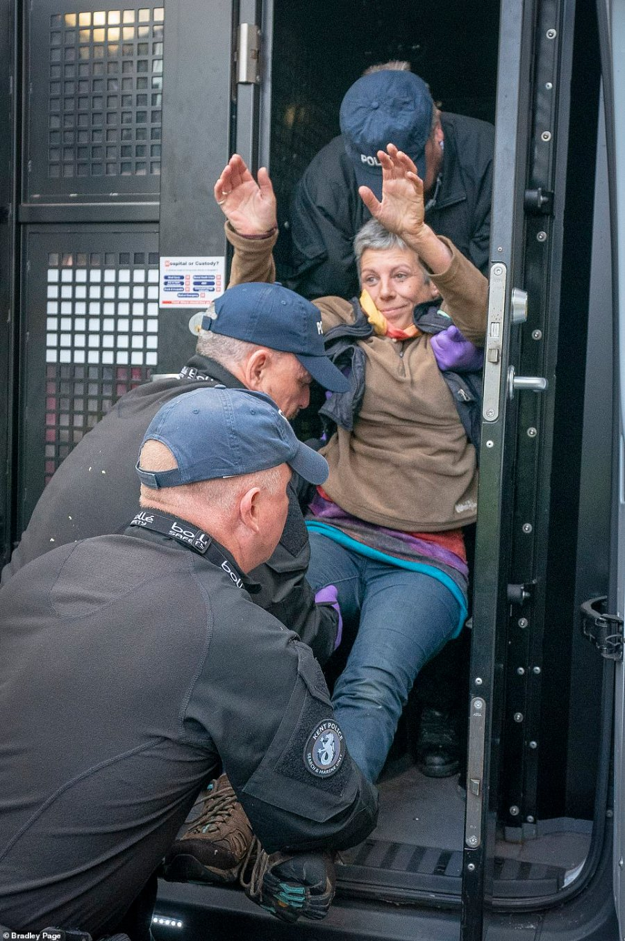 Extinction Rebellion climate protesters were being arrested outside the Home office this morning where a lorry blocked the road