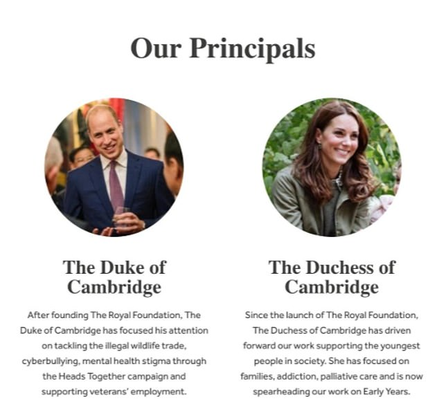 Despite Prince Harry co-founding the organisation in 2009, there are now just two profiles for the Duke and Duchess of Cambridge on the site, with Prince William credited with 'founding' the charity