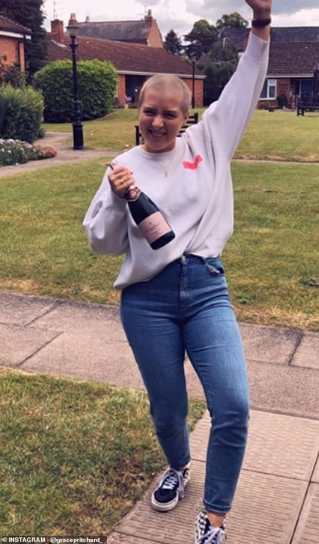 Miss Pritchard said she had no idea what lymphoma cancer was but she 'knew it was something bad' from the way the doctor said it. She is pictured after reaching remission